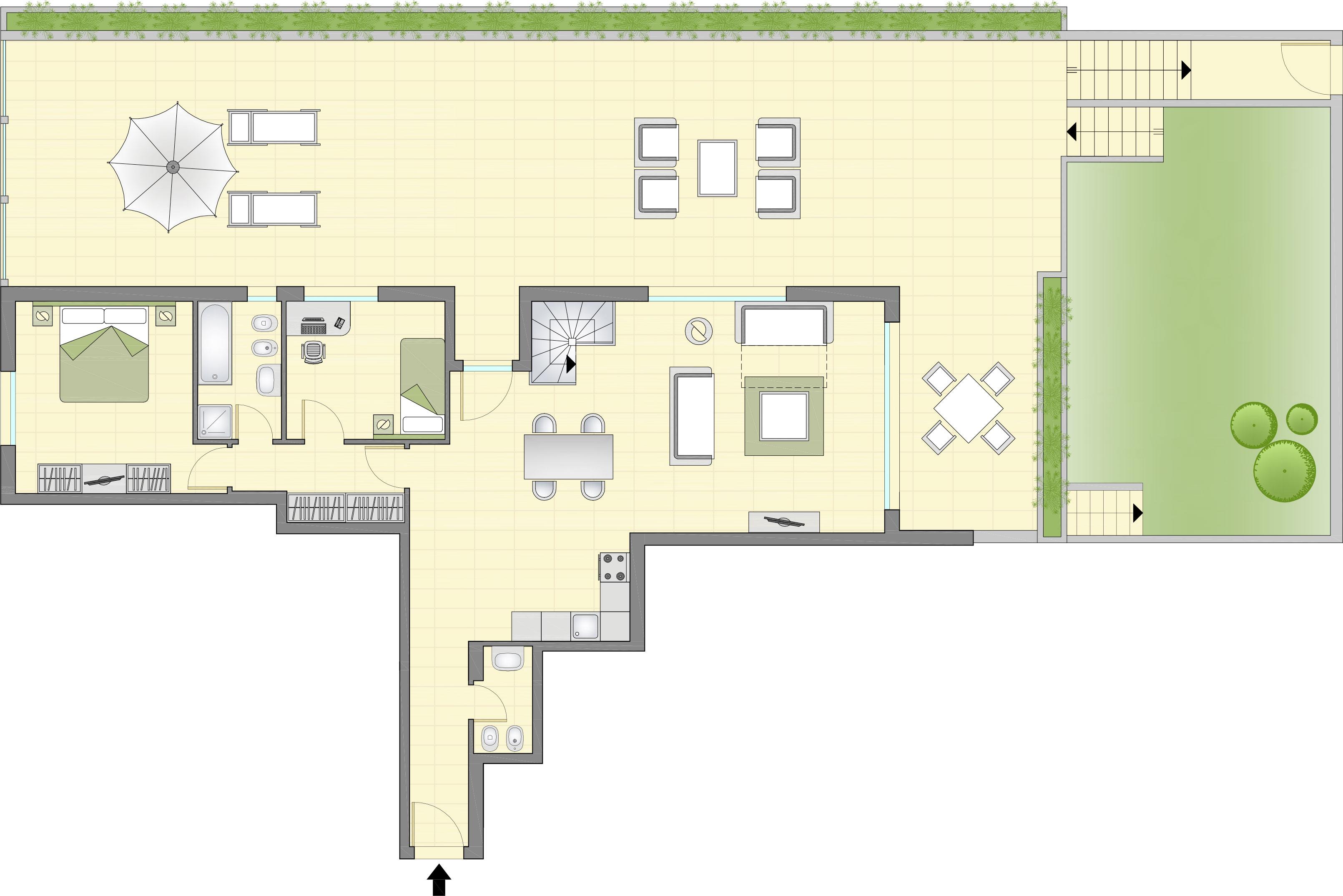 Planimetria appartamenti de luxe con giardino piano 1 for Planimetria giardino