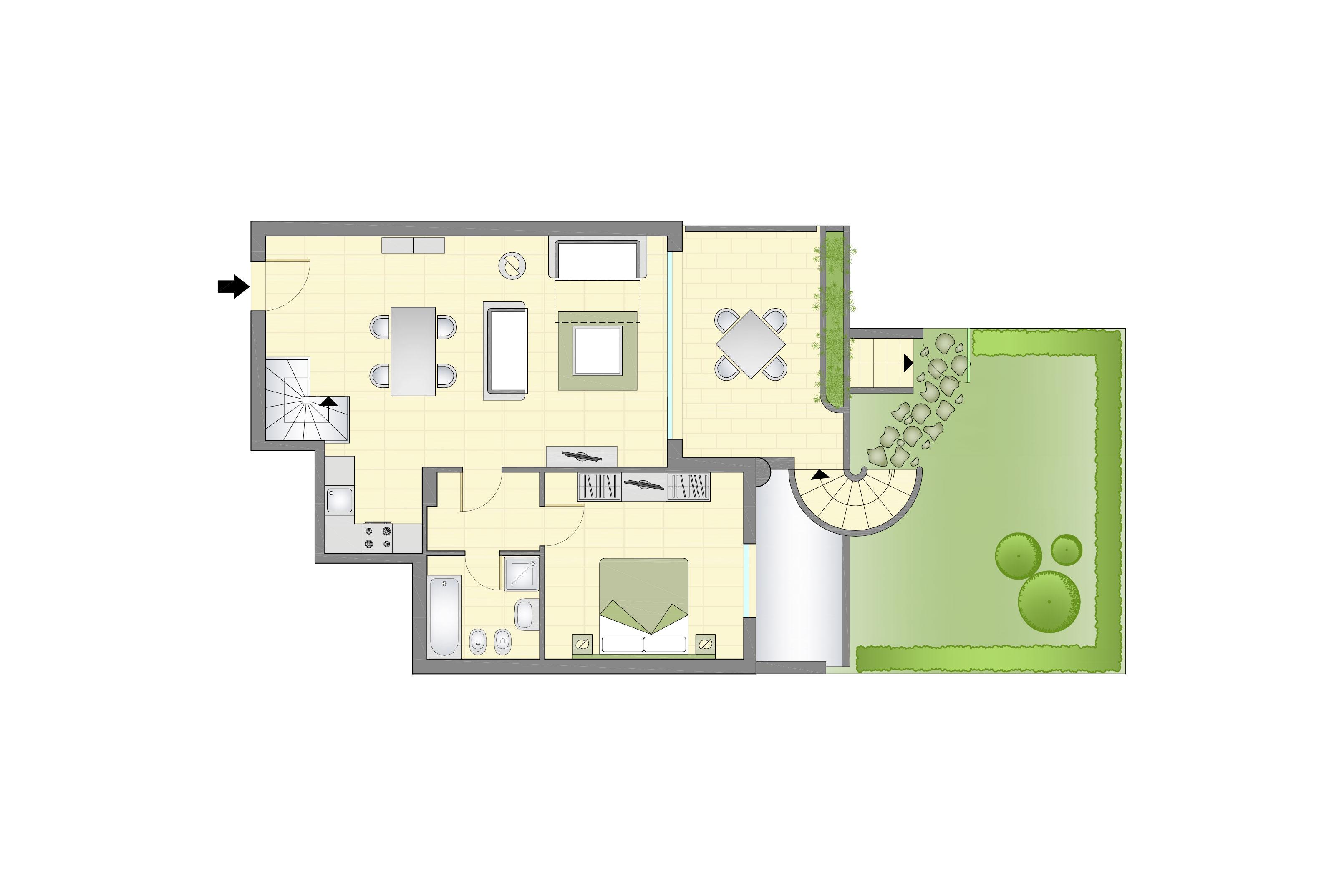 Planimetria appartamenti superior con giardino piano 1 for Appartamenti con planimetrie